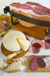 Tuscan ham, Pecorino cheese and salami, Tuscan cooking, Tuscany, Italy by Danita Delimont