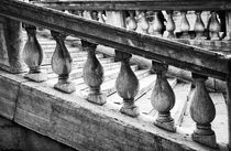 Black and White image of Railing and Stairs near Rialto Bridge by Danita Delimont