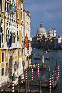 Gondola Piers with Basilica Santa Maria Della Salute in background von Danita Delimont