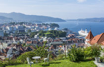 Bergen, Norway aerial of the city from above mountain of cit... by Danita Delimont