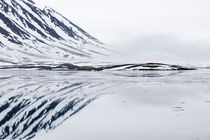 Norway, Svalbard, Monacobreen glacier, Reflections of mounta... von Danita Delimont