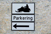 Svalbard. Longyearbyen. Snowmobile parking sign. von Danita Delimont