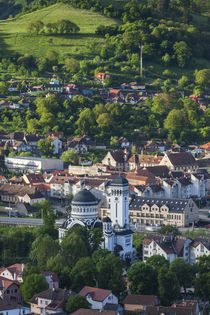 Romania, Transylvania, Sighisoara, elevated town view, dawn von Danita Delimont