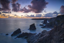 Twilight over the Bedruthan Steps along the Cornwall Coast, England by Danita Delimont