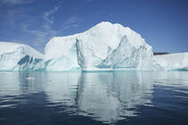 Greenland, Scoresby Sund, Red Island, large icebergs in calm waters. by Danita Delimont