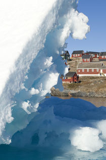 Village and iceberg, Ittoqqortoormiit, Scorsby sound, Greenland by Danita Delimont