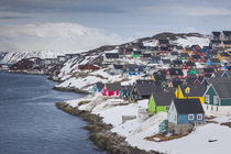 Greenland, Nuuk, city skyline with Sermitsiaq Mountain by Danita Delimont