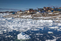 Greenland, Disko Bay, Ilulissat, elevated town view with floating ice by Danita Delimont