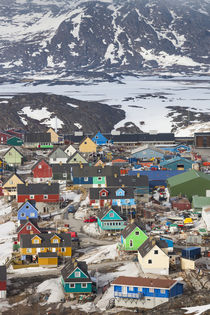 Greenland, Disko Bay, Ilulissat, elevated town view by Danita Delimont