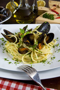 Spaghetti with mussels by Danita Delimont