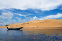 Boat and sand dune along the Preguicas River, Maranhao State, Brazil by Danita Delimont
