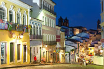 Colonial centre at dusk, Pelourinho, Salvador, Bahia, Brazil by Danita Delimont