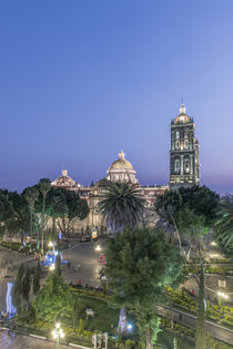 Zocolo and Puebla Cathedral at Twilight by Danita Delimont