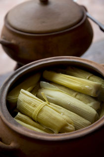 Tamales, Restaurant El Parador de Moray, Inca terraces of Mo... by Danita Delimont