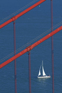 USA, California, San Francisco, Golden Gate Bridge and yacht... by Danita Delimont