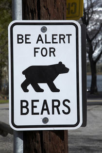 Bear warning sign, Silver Lake Resort, Silver Lake, near Jun... von Danita Delimont