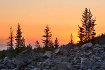 Sunset over Chaos Jumbles and Dwarf Forest, Lassen Volcanic ... von Danita Delimont
