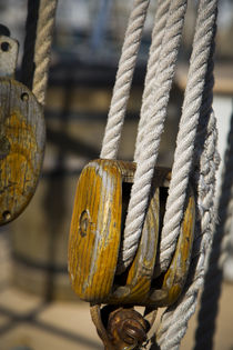 Close-up of wooden rigging block on a Sailboat, Key West, Florida, USA by Danita Delimont