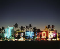 USA, Florida, Miami Beach, Ocean Drive, Art Deco Hotels at dusk . by Danita Delimont