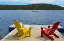 Bar Harbor, Maine, peaceful scene on water with Adirondack c... von Danita Delimont