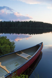 A canoe on Little Berry Pond in Maine's Northern Forest by Danita Delimont