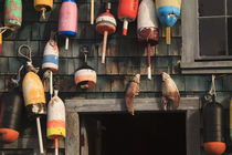 USA, Maine, Bass Harbor, Lobster buoys on a building at Bass Harbor. by Danita Delimont