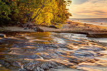 Hurricane River flowing into Lake Superior at sunset, Pictur... by Danita Delimont