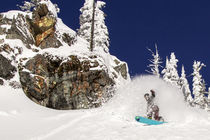 Snowboarding the powder on Evans Heaven at Whitefish, Mounta... by Danita Delimont