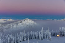 Groomer at dusk at Whitefish Mountain Resort in Whitefish, M... by Danita Delimont