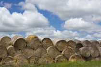 USA, Montana, Garfield County, Big sky country, and hay bales. by Danita Delimont