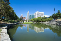 City park lagoon with downtown Omaha, Nebraska, USA by Danita Delimont