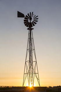 Old windmill at sunset near New England, North Dakota, USA by Danita Delimont
