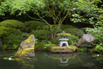 Pagoda and pond in the Japanese Garden, Portland, Oregon, USA. by Danita Delimont