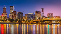 Twilight over the Willamette River and Portland, Oregon, USA. by Danita Delimont