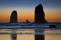 Sunset over Seastack near Haystack Rock, Cannon Beach, Oregon, USA by Danita Delimont
