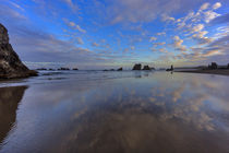 Clouds reflect in wet sand at sunrise at Bandon Beach in Ban... von Danita Delimont