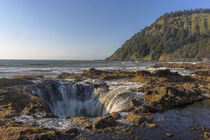 Waves churn at Thor's Well along the rugged Pacific Coast sh... by Danita Delimont