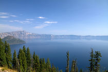 Crater Lake shrouded in smoke from forest fires in Crater La... by Danita Delimont