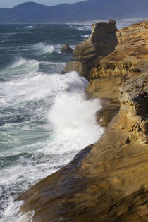 OR, Cape Kiwanda, Ocean waves crashing on the cape by Danita Delimont