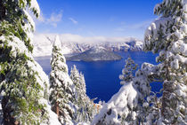 Crater Lake and Wizard Island in winter, Crater Lake Nationa... by Danita Delimont