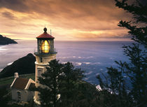 USA, Oregon, View of Heceta Head Lighthouse at sunset by Danita Delimont
