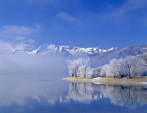 Mt. Timpanogas, low clouds, Deer Creek Reservoir and rimmed ... by Danita Delimont