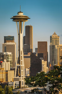 Setting sunlight on the Space Needle and Seattle skyline, Wa... von Danita Delimont
