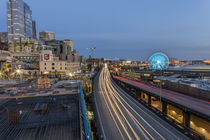 Looking down onto Alaskan Way traffic at dusk in Seattle, Wa... by Danita Delimont