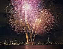 WA, Seattle, Fireworks on July 4th, at Gasworks Park; Space ... von Danita Delimont
