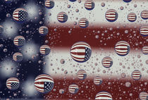 WA, Redmond, American flag, reflected in water drops by Danita Delimont