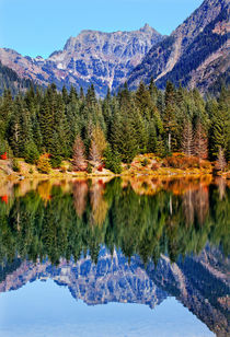 Gold Lake Reflection Mt Chikamin Peak Snoqualme Pass Washington by Danita Delimont