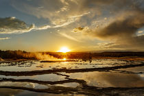 Great Fountain Geyser at sunset, Lower Geyser Basin, Yellows... by Danita Delimont