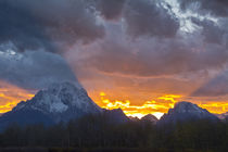 Sunset, from the Oxbow, Grand Tetons, Grand Teton National P... by Danita Delimont