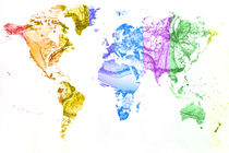 World Map Water Splash Rainbow colors von Eti Reid